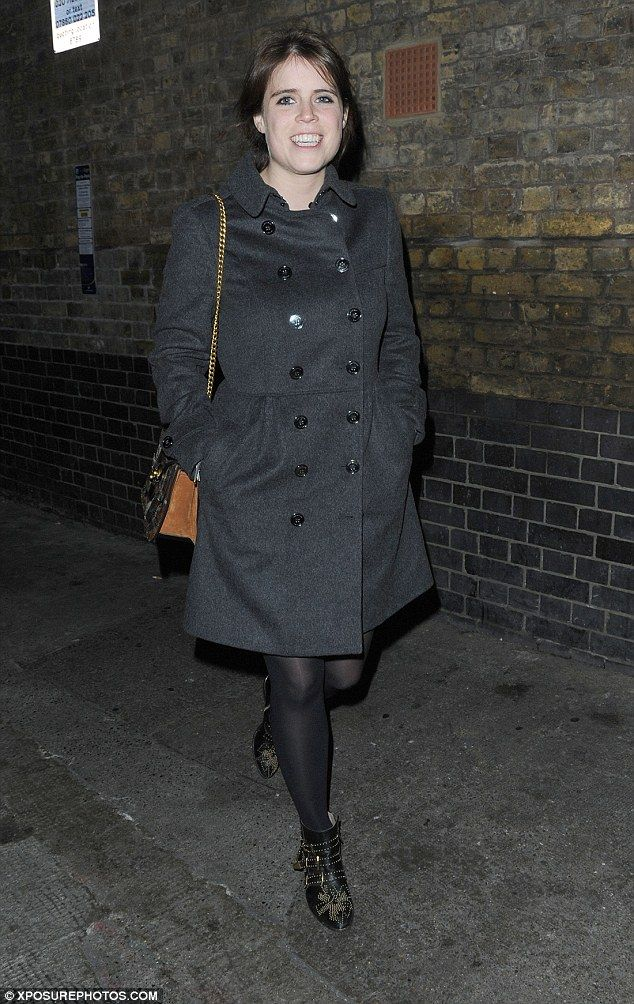 Monochrome maven: Princess Eugenie opted for a casual look as she headed to the Chiltern Firehouse on Friday night, wrapping up warm in a dark coat