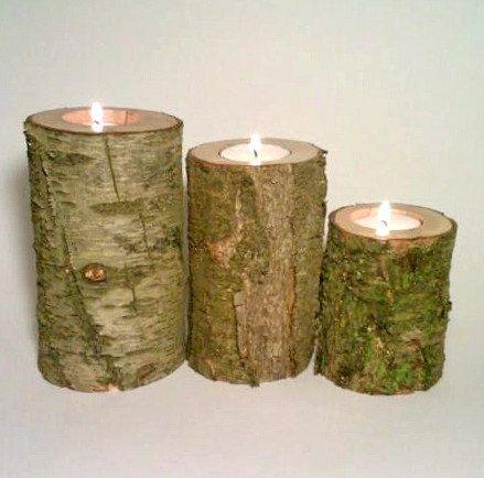 Log Tealight Candle Holder, Rustic Decor, Rustic Wedding Centerpiece, Patio Decor on Etsy, $40.00