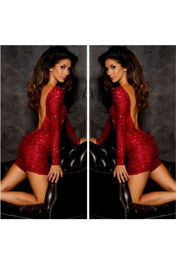 Lady in Red! Get noticed in this red sparkly dress featuring scooped draping back, long sleeves, and a sexy tight fit! It's great for that holiday party.