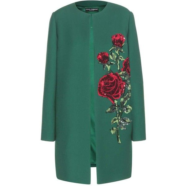 Dolce & Gabbana Embellished Wool Coat ($3,497) ❤ liked on Polyvore featuring outerwear, coats, jackets, green, embellished coat, wool coat, dolce&gabbana, woolen coat and green coat