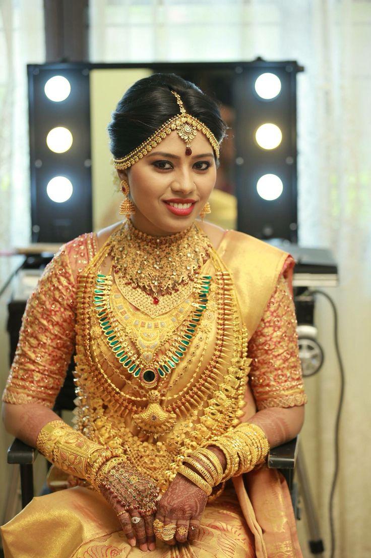South Indian Bride Golden Saree Kerala Wedding