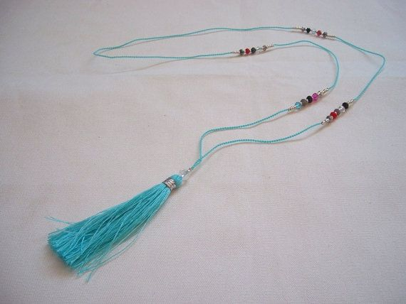 TASSEL NECKLACE with small silver beads and by ExtravaganzaBali   $8.90 USD