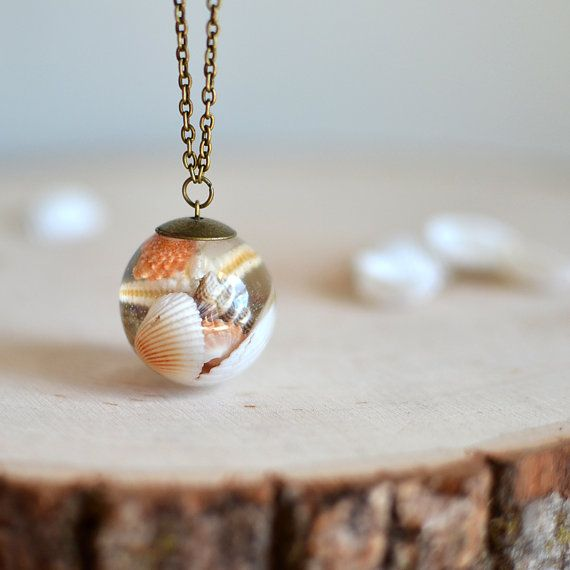 Seashell necklace resin necklace  seashell jewelry by EightAcorns