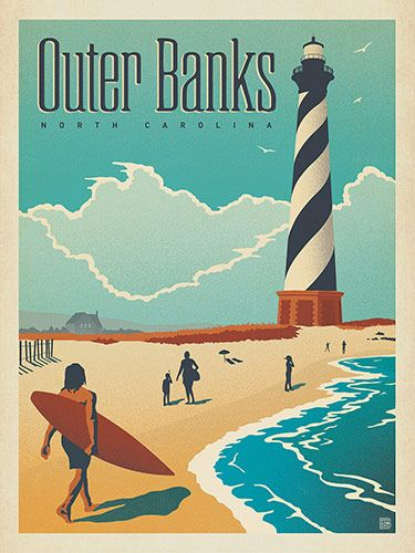 """Outer Banks, NC - Anderson Design Group has created an award-winning series of classic travel posters that celebrates the history and charm of America's greatest cities and national parks. Founder Joel Anderson directs a team of talented Nashville-based artists to keep the collection growing. This print celebrates the beauty of the shores of Outer Banks. Printed on a heavy, gallery-grade matte finished paper, this cheerful print will fit any standard 18"""" x 24"""" frame and look..."""