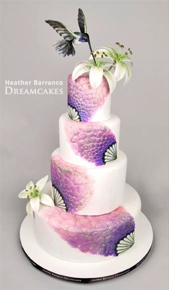 Purple hummingbird wedding cake OoO I love this