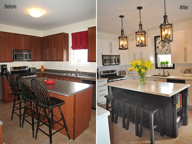 before and after kitchen. I want to add breadboard and the shelf for cookbooks to my island.
