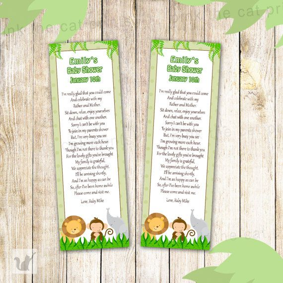 Jungle Bookmarks - Baby Boy Shower green Party Favor Printable Personalized