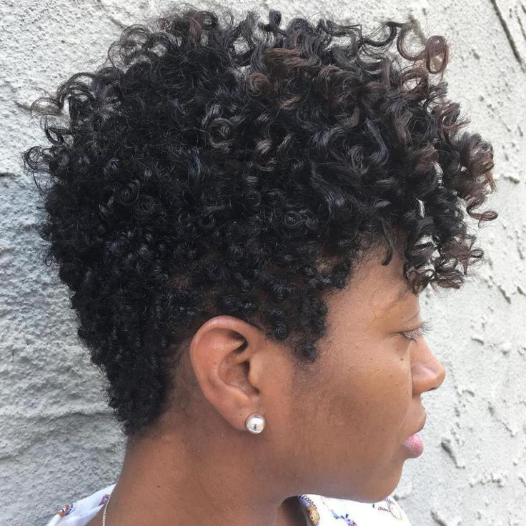 Black Curly Tapered Haircut For Women