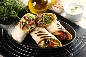 Przepis - Wegetariański mix - Grillowane tortille z warzywami i kiełkami słonecznika