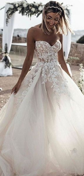 Charming A-Line Sweetheart Tulle Sweep Train Wedding Dresses With Appliques,FPWD041