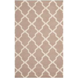 Tufted wool rug with a trellis motif. Handmade in India.    Product: RugConstruction Material: WoolColor: Beige Features:  Made in IndiaHand-tufted Note: Please be aware that actual colors may vary from those shown on your screen. Accent rugs may also not show the entire pattern that the corresponding area rugs have.Cleaning and Care: Professional cleaning recommended
