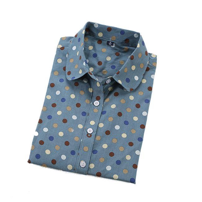 2016 Плюс Размер Полька Dot Хлопок Женщины Блузки Рубашки С Длинным рукав Женщин Рубашки Turn Down Воротник Хлопок Повседневная Рубашка Женщин топы купить на AliExpress