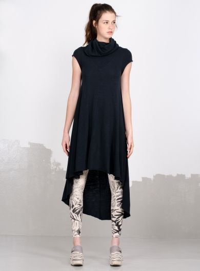 Asymmetrical dress with turtleneck