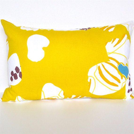 Marimekko Pillow Cover. Mustard Citrine Yellow by OnHighat5