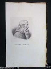 1840 ca PIETRO BEMBO RITRATTO LITOGRAFIA STAMPA  D249 m