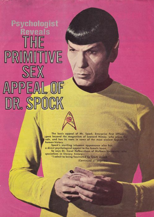 """How to annoy Star Trek fans in 3 steps:    1) Wrong shirt color. Should be blue, not yellow.  2) Emblem on the wrong side of the shirt, and backwards.  3) Dr Spock was a 20th Century American Pediatrician. Sex appeal there? Yeah.....don't think so. And I don't know about """"primitive"""" but any sex appeal attached to the name Spock goes to MISTER Spock."""