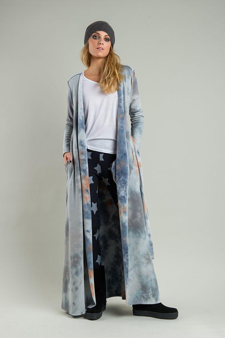 Γυναικείο doublefaced μακρύ γούνινο παλτό σε γκρι