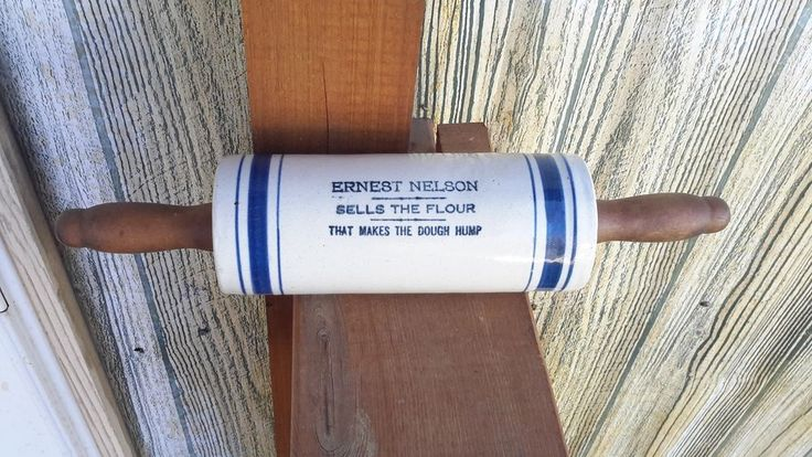 Blue band advertising rolling pin with handles ernest