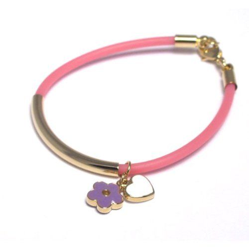 """18k Yellow Gold Plated Purple White Enamel Hearts Flowers Pink Jelly Toddler Kids Girls Bangle Bracelet 40 mm + 1"""" Kids Jewelry USA. $15.95. Pink Jelly Cord. Purple and White Enamel. Free Jewelry Pouch Included. 18k Yellow Gold Plated Brass. 40mm + 1"""" Length"""