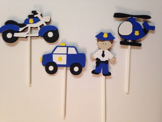 Banner Feliz Aniversario: Police Party Decorations. Banner, Centerpiece, And Cupcake