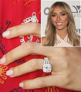 Guiliana Rancic's 4 carat cushion cut diamond ring with micro pave halo. #celebrity #engagement #diamond