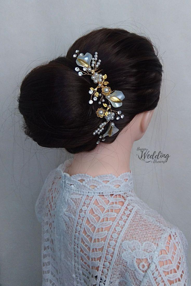 Wedding Bridal Hair Comb Pearl Flower Hair Comb Rhinestone Bridal Hair Piece Wedding Hair Comb Pg0010 Cheveux De Mariee Peigne Peigne Cheveux