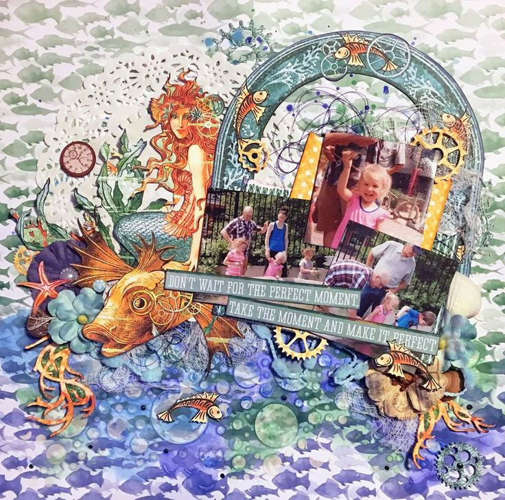 Scraps of Darkness scrapbook kits: This gorgeous multi-photo summer layout was created by one of our kit club members, Jennifer Walth, using our July 'An Ocean Tale' kit, and we just LOVE it! Her design and fussy cutting are simply stunning. Beautiful work, Jennifer!