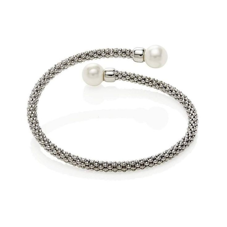 Mesh Silver Bracelet With Pearls