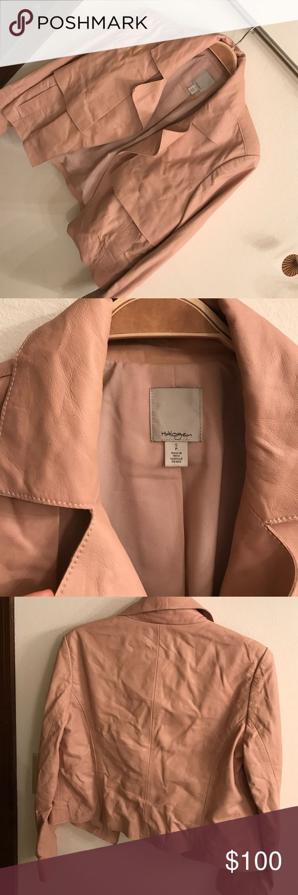 Halogen cropped leather jacket Butter soft, ballet pink. Hits right at the waist, open front. Some speckling from wear but can easily be cleaned. Halogen Jackets & Coats