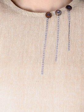 Beige Kalamkari Printed Asymmetrical Hem Cotton Jute Tunic