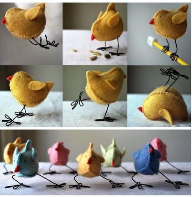 kipjes gemaakt van vilt.