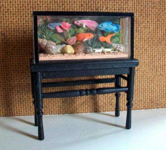 Fish Tank with Stand half inch scale by MarquisMiniatures on Etsy, $45.00