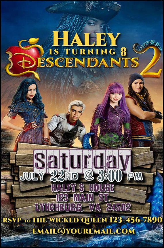 Descendants 2 Printable Birthday Party Invitation 4x6 Or 5x7 Digital Download Mal Evie Carlos Jay Invitaciones De Descendientes Descendientes 2 Descendientes