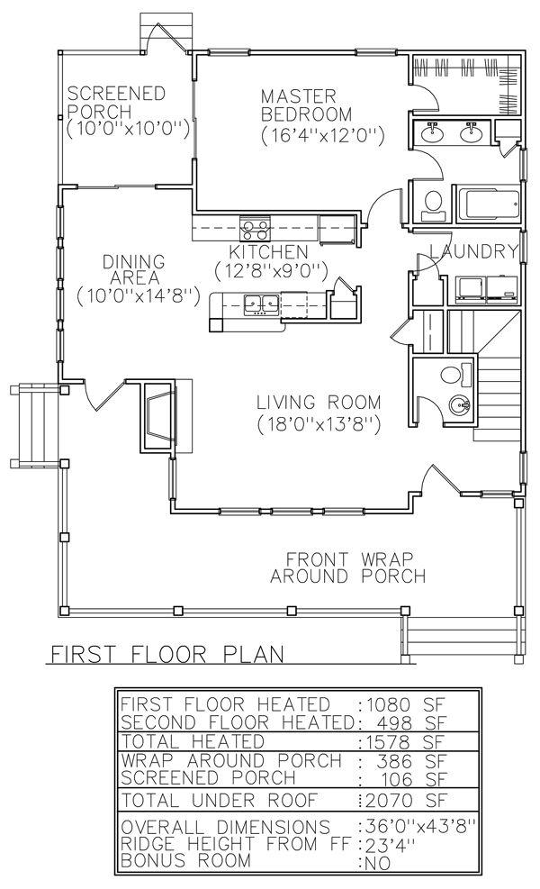 First Floor Plan of Country Farmhouse House Plan 45628 modifier sdb de l'entrée pour cacher un lit d'invité
