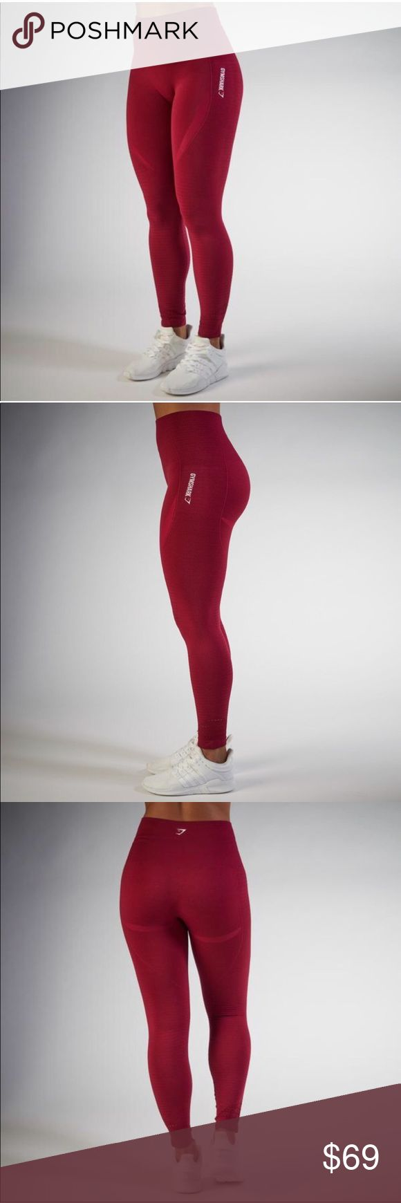Gymshark Red Seamless Full Length Leggings Too small for me. ISO of S. Also have this exact legging in slate grey for sale. Brand new. NWT. Only tried on. Price firm to break even with shipping. Took 2 weeks to arrive from the U.K. NOTE last photo is of cropped version. These are full length!! Sold out on their website!! Gymshark Pants Leggings