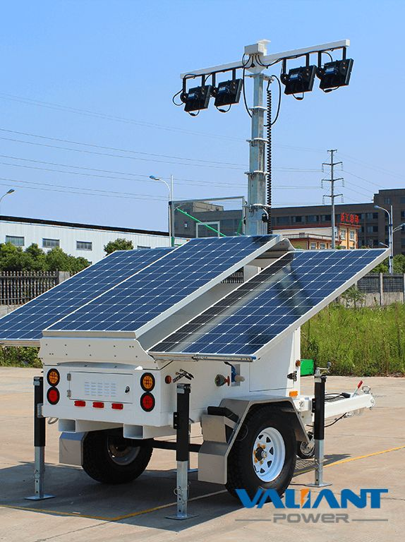 Solar Light Tower VTS900A-L Product Feature: 1. 3*325W solar panels 2. 4*200Ah/6*150Ah/6*200Ah gel batteries,DC24V system 3. 4*50W/4*100W/6*100W LED light 4. Optional 6 to 9 meters manual/electric/ hydraulic mast 5. Single axle solar light tower with Australia/ Europe/North America standard