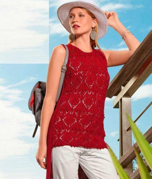 Красный летний топ спицами из журнала Verena 2016