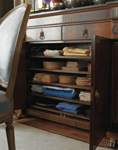 """'The buffet is used for storage. A series of drawers in the top frieze of the mahogany cabinet hold napkin rings, place cards, sets of chopsticks, and two hidden touch-latch drawers for jewelry.' -""""Elegant Rooms That Work"""", Dining Rooms"""