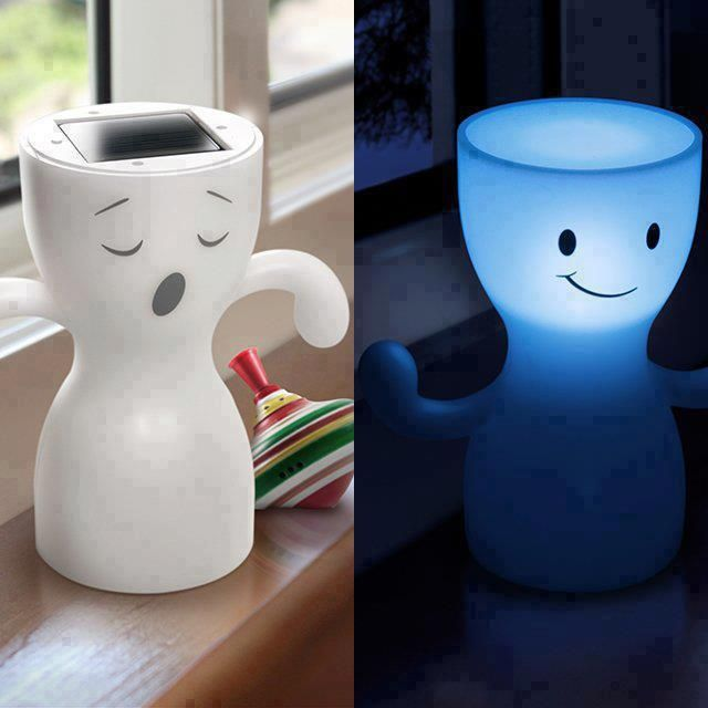 Storing energy during the day  and lighting up at night  http://www.lovedesigncreate.com/globoy-blue-light-solar-night-lamp-white/