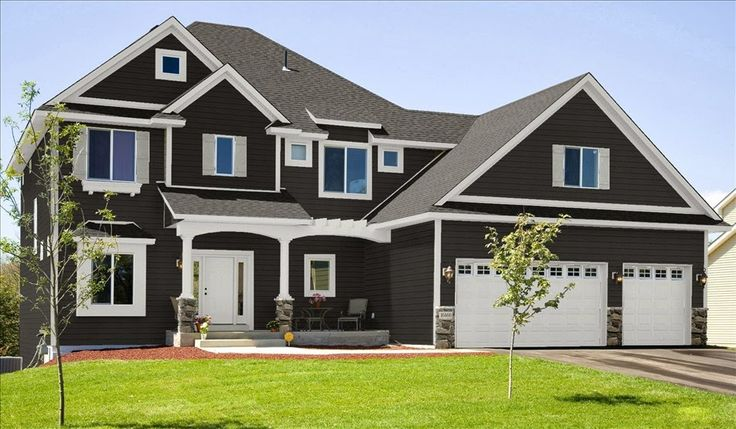 house exterior dark brown with white trim - Google Search