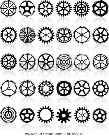 stock vector : vector set of thirty different gears
