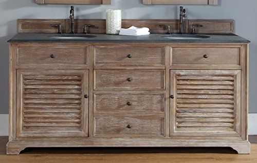 James Martin 238-104-5711-BLK Savannah 72 Driftwood Double Vainness with Absolute Black Rustic Stone