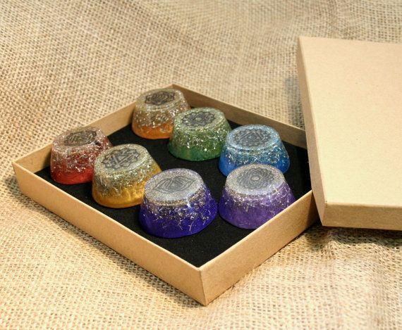 Orgonite chakra set for healers by OrgoniseYourself