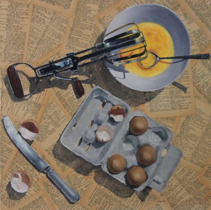 "Saatchi Online Artist: Vicky Riley; Oil, 2012, Painting ""eggs for breakfast?"""
