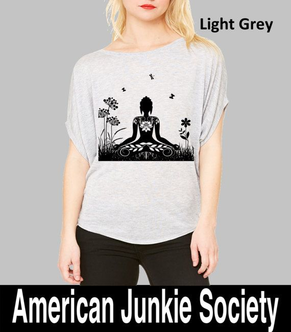 Yoga T Shirt-(Womens ZEN BUDDHA Shirt )Yoga Tunic-Yoga Clothes-Meditation Clothing-Flowy Shirt-Gift For Her-Girlfriend Gift-Tunic Shirt-