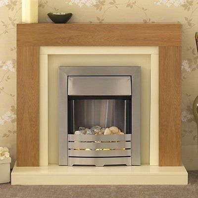 8  .ELECTRIC OAK SILVER IVORY SMALL FREE STANDING WALL MOUNTED FIRE FIREPLACE SUITE