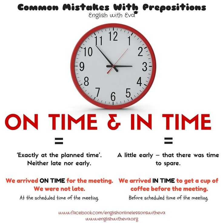 Learning English, Grammar, Prepositions, Common mistakes, On time, In time
