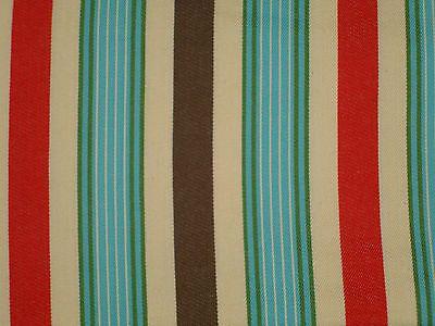 Retro Aqua Blue Cherry Red Chocolate Brown Cream Green Woven Stripe Moda Western