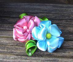 Flor em Fitas com 9  petulas Passo a Passo -satin flower
