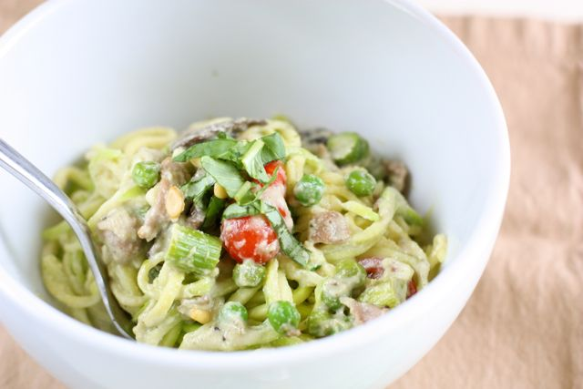 "Creamy Pesto ""Pasta"" with Spring Vegetables - Against All Grain"
